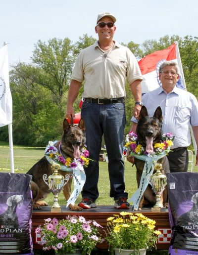 Ayk and Gipsy with Rick on podium